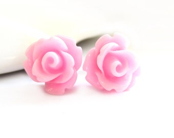 SALE - Light Pink Rose Stud Earrings