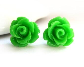SALE - Grass Green Rose Stud Earrings