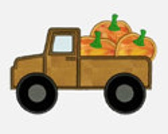 Pumpkin Truck ...Embroidery Applique Design...Three sizes for multiple hoops...Item1272...INSTANT DOWNLOAD