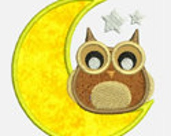 Owl on the Moon...Embroidery Applique Design...Three sizes for multiple hoops...Item1552...INSTANT DOWNLOAD