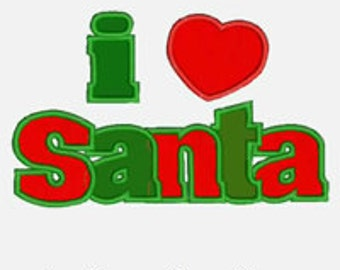 I Heart Santa...Embroidery Applique Design...Three sizes for multiple hoops...Item1360...INSTANT DOWNLOAD
