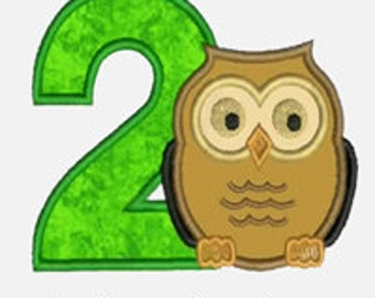 Owl Numbers 1-9...Embroidery Applique Design...Two sizes for multiple hoops...Item1456...INSTANT DOWNLOAD