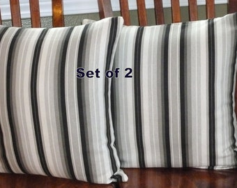 Decorative Throw Pillow Covers - Two 18 Inch - Black and White Stripe