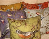 Shabby Chic Fun Throw Pillow set with Bird Motif French Market Design Floral Handmade Pillow Set of 5