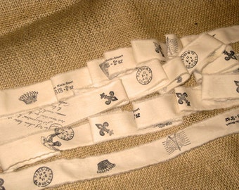 Hand Stamped Ribbon, Muslin Ribbon, Vintage Ribbon, Shabby Chic Ribbon, Paris France Inspired Muslin Stamped Ribbon with Paris Icons ECS