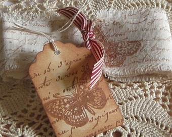 Hand Cut, Stamped and Fringed Muslin Ribbon French Script with Butterfly