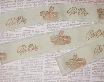 For Baby Muslin Vintage Hand Stamped For Baby Ribbon ECS