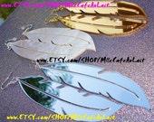 Laser Cut WHTE Marble Swirl Acrylic Mirror Feather Earrings - Swan Lake
