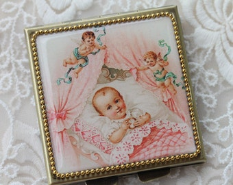 Angel Baby-Whimsical Retro Women - Fashion Vintage Women - Victorian Women - Pill Case - Pillbox- pil box-Compact Mirror-Trinket Box