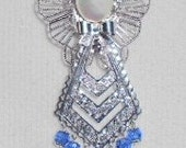 Angel Pin - Sapphire Swarovski Crystal , Filigree Silvertone with Pinback