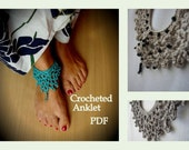 Crocheted anklet PDF patten - a photo tutorial, ankle bracelet, barefoot jewelry, boho chic, DIY anklet, sell what you make