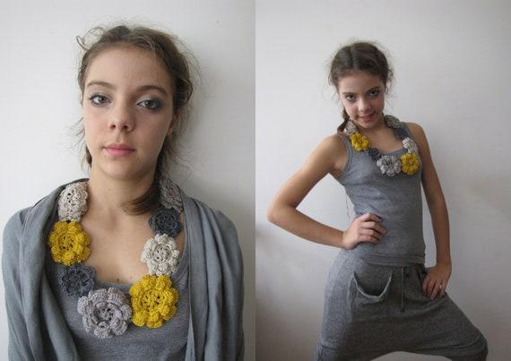 Crocheted Rose Necklace - Irish rose crochet- bohemian necklace- mustard, beige and grey - Custom order