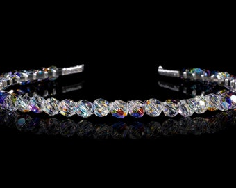 Vintage Look Crystal Tiara or Alice Band made with Swarovski crystals. Silver Plated - Non Tarnish
