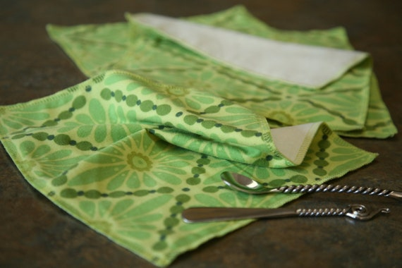 4 Flannel Lunch Napkins - Pure Cotton 2-Layer Eco Cloth, Green