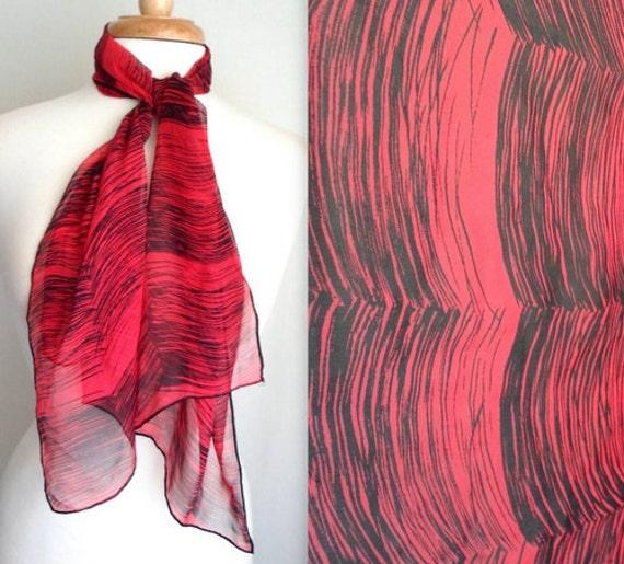 Red & Black Long Sheer Scarf