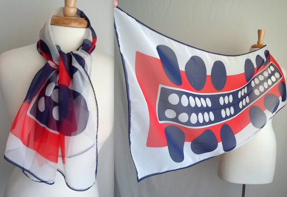 Red White & Blue Abstract Scarf