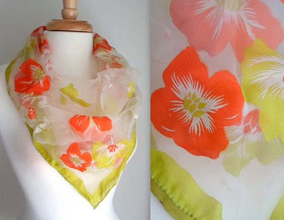 Orange & Olive Green Tropical Flowers Scarf