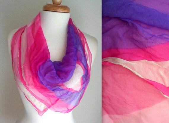 Purple & Pink Ombre Silk Scarf