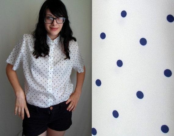 White & Navy Blue Polka Dot Blouse
