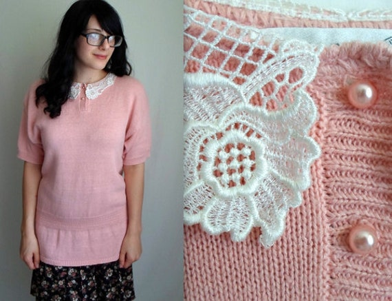 Pale Pink Sweater with Cute Lace Collar