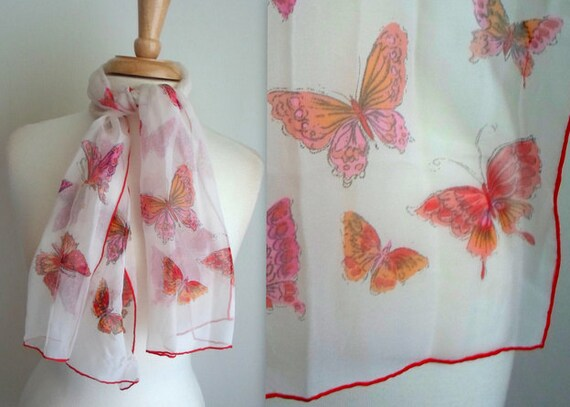 Sheer White & Red Butterfly Scarf