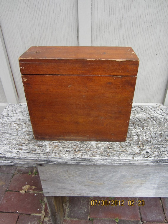 Vintage 1940s 1950s hinged box wood storage primitive organizer
