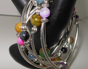 Set of 5 Stone & Crystal Bangles by ChoklatTea
