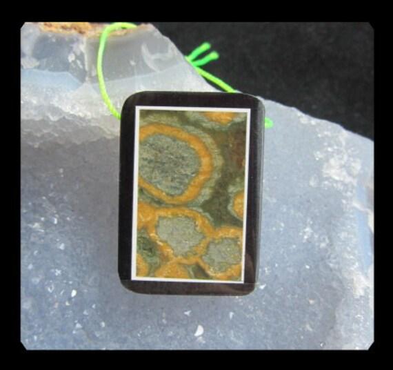 Ocean Jasper,Black Stone Intarsia Pendant Bead,28x35x5mm,11.74g