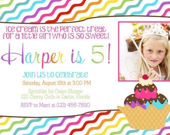 Ice Cream Shoppe Photo Birthday Invitation - Girl PRINTABLE