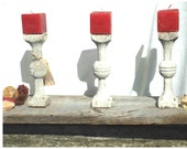 Shabby Chic Finial Square Candle Holders (candles incl. in red) on barnwood with nut decor