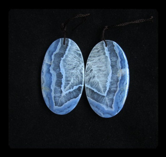 Blue Lace Agate Oval Earring Bead,26x46x4mm,17.4g