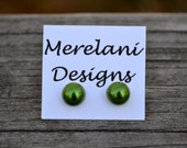 Green Pearl Cabochons . Studs . Earrings . Pearl Stud Collection