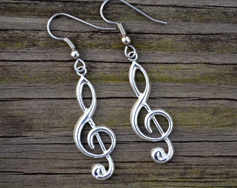 Silver Treble Clefs . Earrings . Large . Music Notes Collection