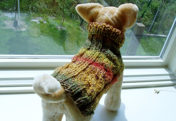 Dog Sweater Hand Knit Autumn Leaves Cable Small