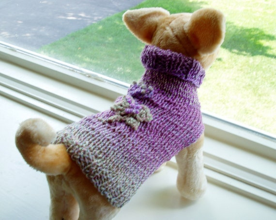 Dog Sweater Hand Knit Vanya Superwash Merino Wool XSmall