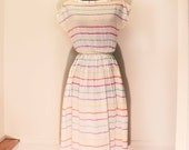 Light summer rainbow striped boat neck dress Made In France 38 S/M - specola