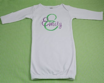 Personalized Monogram Infant Baby Girl Gown 0 to 3 months or 3 to 6 months