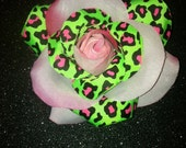 Gorgeous Rockabilly Lime Green and Pink Leopard Rose Hair Flower PinUp