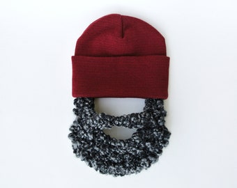 Baby Beard Hat Costume - Deep Red with Salt n Pepper Beard- Order for up to 3 years