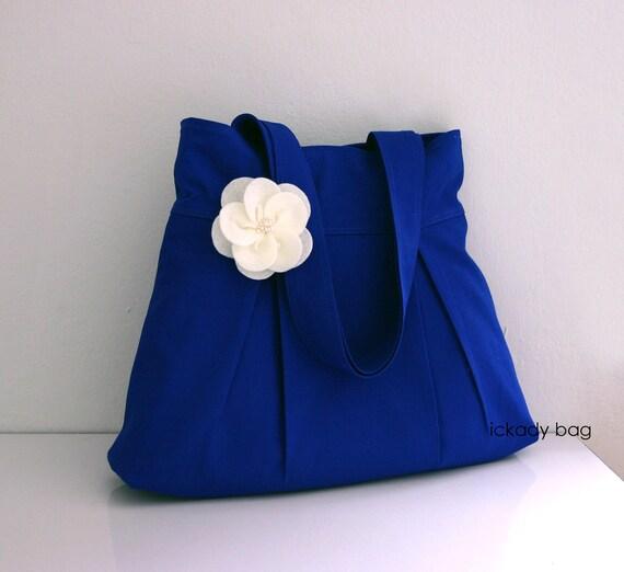 Women bag, Bridesmaid, Cotton bag,Shoulder bag, Tote bag, Purse, Everyday bag, Pleated bag, Market bag, Cute bag with Flower in Royal Blue