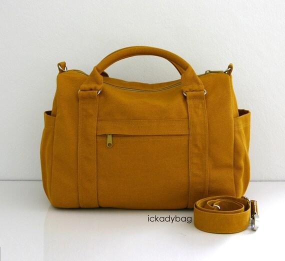 Sale 10% off - Dark Mustard Canvas (14oz) Bag - 9 Pockets - Waterproof Lining - Mini Duffel Bag / School Bag / Travel Bag