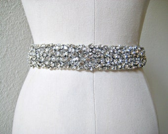 Bridal beaded luxury, chunky Czechoslovakia crystal sash.  Rhinestone wedding belt.  CRYSTAL CLUSTERS DELUXE.