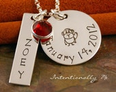 Personalized Jewelry - Sterling Silver Hand Stamped Mommy Necklace - Name and Date with design - My Favorite