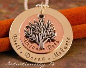 Personalized Grandma Necklace - Handstamped Grandma Jewelry - Ultimate Big Family Tree Necklace