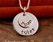 Hand Stamped Mommy Jewelry - Personalized Jewelry - Sterling Silver Necklace - Mini Double Stack