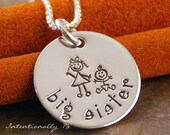 Hand Stamped Jewelry - Personalized Sterling Silver Necklace - Big Sister Small Tag
