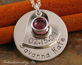 Mommy Necklace - Personalized Jewelry - Sterling Silver Hand Stamped Jewelry - My Little Love Deluxe