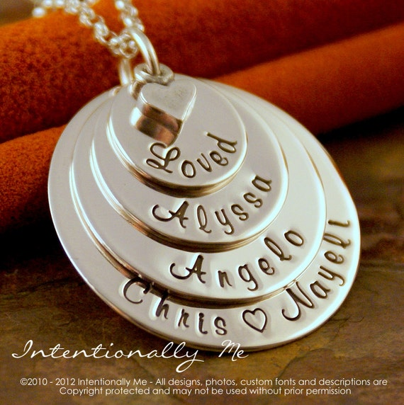 Mommy Necklace - Hand Stamped Mommy Jewelry - Personalized Layered Sterling Silver Necklace - Loved Flat Family Stack of Four