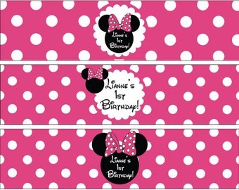 Minnie Mouse Water Bottle Labels in Hot Pink