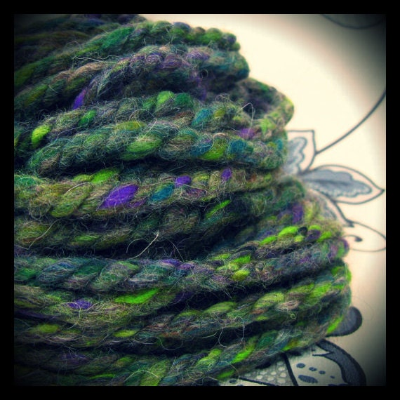 Handspun ARtYaRN - 'Navaho Forest' - triple ply bulky wool yarn from deep carded natural fibre art batts